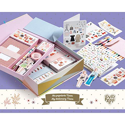 Djeco 03501 Bastelset Papeterie Sticker Aufkleber Box Set Tinou zum Basteln Und Verschenken