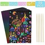 Scratch Art,BESTZY 50 Hojas Dibujo Scratch Láminas para Rascar Creativas Papel para Dibujar, Manualidades, Escribir Listas, Incluye 4 Plantillas de Plantillas de Dibujo y 5 lápices de Madera