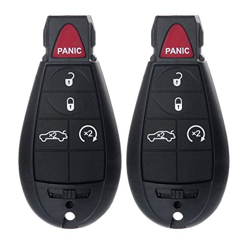 ECCPP Replacement fit for 2X 5 Button Keyless Entry Remote Key Fob J-eep D-odge C-hrysler Series M3N5WY783X IYZ-C01C