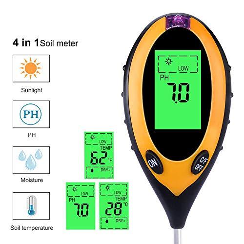 ZYD 4 En 1 Medidor De PH Digital De Humedad del Suelo Temperatura Monitor Sunlight Probador para La Jardinería De Plantas De Cultivo con Blacklight