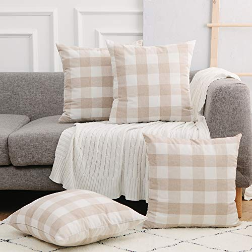 UPOPO 4 Pieces Beige and White Buffalo Check Plaid Decortive Oversize Throw Pillow Covers Classic Cushion Case for Couch Bedroom Sofa 26x26 inch