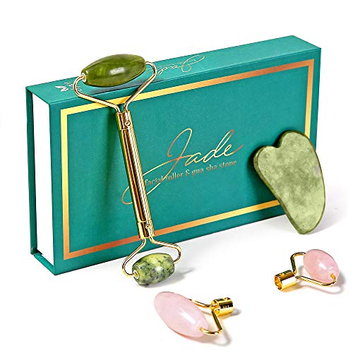 ELYXIR 2 in 1 Jade Roller With Interchangeable Jade & Rose Quartz Stones+Gua Sha Massage Tool| Anti-Aging Multi Purpose Face Roller|100% Natural Jade Stones For Skin/Neck Tightening|