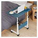 ABD Mesa sobrecama con ruedas, sobrecama, mesa, mesa sobrecama, portátil, en forma de C, escritorio, oficina, sala de conferencias, escuela (color de pino azul, tamaño: 60 x 40 cm)