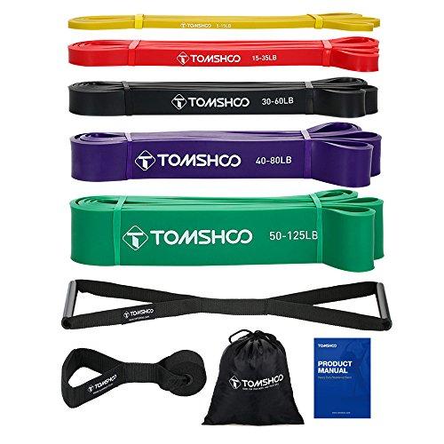 TOMSHOO 5 Packs Resistance Bänder Set, Wiederstandbänder, Pull Up Resistance Loop Bänder Powerlifting Dehnungsbänder mit Türanker und Handgriffen (5-315lb)