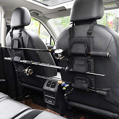 NINEFOX 1 Piece Fishing Rod Holder Rest Car Carrier for Vehicle Backseat 3 Poles Tackle Tool, Easy Install Vehicle Fishing Rod Carrier Belt Strap for SUV, Wagons, Van