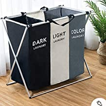 AosKe 3-Section Laundry Basket or Dirty Laundry sorter Made of Tianjin Waterproof Bag and Aluminum Frame (24.5
