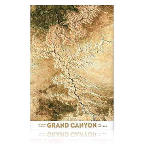 SpringFlower Muursticker Grand-Canyon Kaart Premium Art Print Decoratie Poster Ontwerp Moderne muursticker Aangepast Product voor Woonkamer, Slaapkamer, Kantoor Muur Art Zelfklevend Materiaal