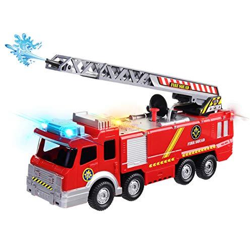 Conthfut Elektrisches Feuerwehrauto Spielzeug, Spiel Fahrzeug mit den Licht Sirenen, die Leiter und Wasserspray Go Aktions Auto Spielzeug für Kinder