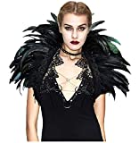 L'VOW Black Crow Feather Cape Shawl Halloween Devil Wings Maleficent Costume (Black)