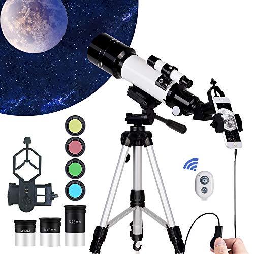 天体望遠鏡 WR852 屈折式 経緯台 トラベルスコープ 口径70mm 焦点距離400mm 接眼レンズ3個(K6mm、K10 mm、 K25mm) 軽量 HD高倍率 天体観測 野鳥 観察 子供や初心者用 三脚付き