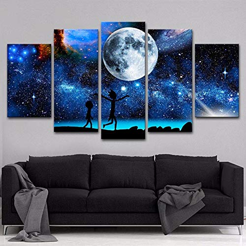 XMYL Home Decor HD Stampato Dipinti Modulari Poster 5 Pannello Cielo Stellato Rick E Morty Tableau Wall Art Modern Pictures Tela