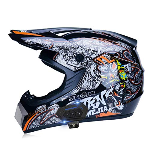 JJIIEE Motocross Bluetooth Helmet with Goggles Mas-k Gloves,ECE Standard,Downhill DH Off-Road Motorcycle AM Riding Helmet for Youth Kids Adult,A,XL