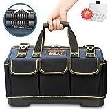 AIRAJ14 Zoll kleine Werkzeugtasche, wasserdichte Werkzeugtasche, Multifunktionswerkzeug Einkaufstasche, Elektriker Werkzeugtasche mit Kunststoffboden und verstellbarem Schultergurt