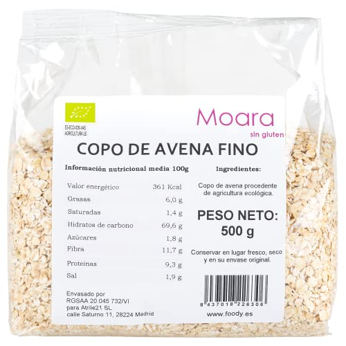 Finos copos de avena integral BIO sin gluten y sin azúcar - Copos de avena suaves, enteros y ecológicos - Oatmeal vegano 500gr.
