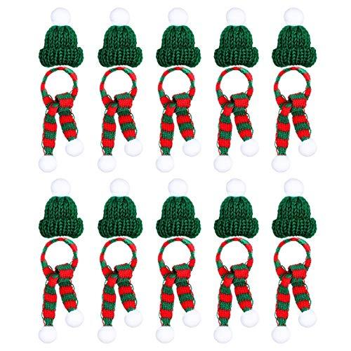 Decoraciones de Navidad - La fiesta de Navidad de la mini Navidad Bufanda Y Sombrero Decoración de la muñeca accesorios de vestir de la planta creativa decoración Mejor Decoración de Navidad para que