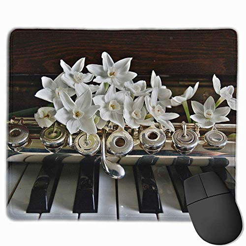 Mouse Pad Rectangle Rubber Non-Slip Mousepad Flute Piano Print Gaming Mouse Pad