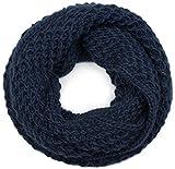 styleBREAKER Unisex Strick Loopschal grob gestrickt, Uni Schlauchschal, Winter Strickschal, Grobstrick Schal 01018157, Farbe:Midnight-Blue/Dunkelblau