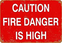 185グレートティンサインアルミニウム注意火災の危険性は高い屋外および屋内サイン壁の装飾12x8インチ