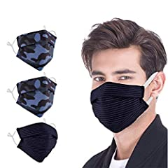🌟 Material & Size: 4 packs of 100% cotton printing masks. Adult size 7.6 ''×3.5'',unfolding arc 6.5'' ♻ Washable & Reuasble: The cotton face masks are made of high quality pure cotton. They can be cleaned and used many times. 🌵 Product Design: Adjust...