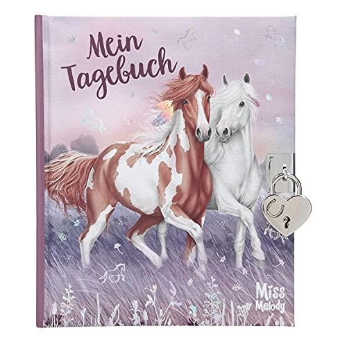 Depesche 11482 Miss Melody - Tagebuch mit Schloss und traumhaftem Pferde-Motiv, 192 linierte und illustrierte Seiten für Eintragungen, inkl. Stickern zum Verzieren, ca. 19 x 16 x 2,3 cm