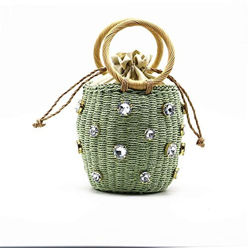 Cvthfyky Rattan Handle Woven Women Bag 2020 New Diamond Pearl Straw Small Handbag Wild Style Women Bag Ins Rattan Shoulder Beach Bag (Color : Green, Size : 17CM)