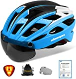 Casco bicicleta/Casco Bicic con luz,Certificado CE, casco bicicleta adulto con Visera Magnética Desm...
