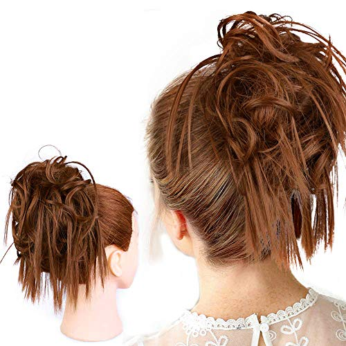 HMD Tousled Updo Messy Bun Hair Piece Hair Extension Ponytail With Elastic Rubber Band Updo Extensions Hairpiece Synthetic Hair Extension Scrunchies Ponytail Hairpiece for Women.