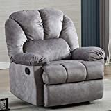 Fabric Recliner Chair, Bonzy Home Small Reclining Chair Living Room Sofa Chair with Manual Pull Short Plush Comfortable Recliner Chair for Bedroom Theater Room (Grey)