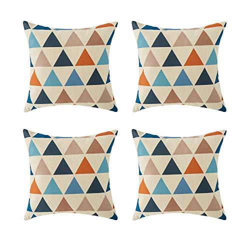 Topfinel hogar geometria algodón Lino Cuadrado Manta Decorativa Almohadas Fundas de cojín para Sala de Estar Juego de 4,45x45cm