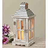 11-Inch Rustic Lighted White Wood and Metal Decorative Lantern with LED Candle and Timer – Vintage Indoor Outdoor Farmhouse Home or Garden Decor – Hanging or Tabletop Country Decoration