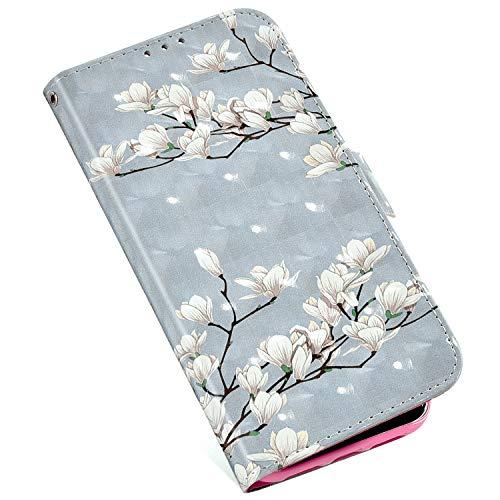 MoreChioce compatible avec Coque Nokia 9 PureView Glitter Clapet Case,Coloré Brillant Strass Magnolia Etui en Cuir Antichoc Portefeuille Housse à Rabat Protective Flip Case Magnétique