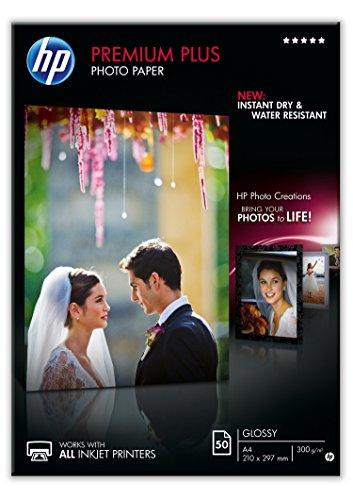 HP CR674A Premium Plus Glossy Photo Paper 300g/m2 A4 50 Blatt 1er-Pack, weiss
