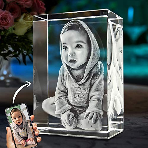 ArtPix 3D - Custom Laser Engraved 3D Photo Crystal - Rectangle - Small - Portrait Orientation | Best Mother's Day Gift