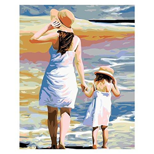Pintar por números para niños adultos kit de pintura al óleo DIY Principiante - Madre e hija de la mano 406
