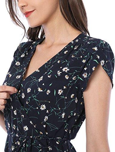 Allegra K Vestido Mini Fluido Floral con cinturón y Cuello en V con Estampado Floral para Mujer Azul S