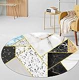 Alfombra Redonda Sala Dormitorio,Lavable a máquina,relación Calidad-Precio,Muy Recomendable,Alfombra Encantadora,150cm de diámetro,Impresión de patrón de Color de mármol nórdico