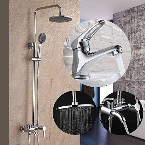 ZLININ Y-longhair - Juego de ducha para baño con combinación de grifo de lavabo y grifo de ducha, monomando de agua fría y caliente