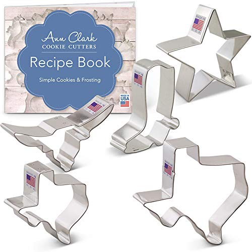 Ann Clark Cookie Cutters 5-Piece Texas Cookie Cutter Set with Recipe Booklet, Texas 3' & 4.4', Long Horn, Star, Cowboy Boot