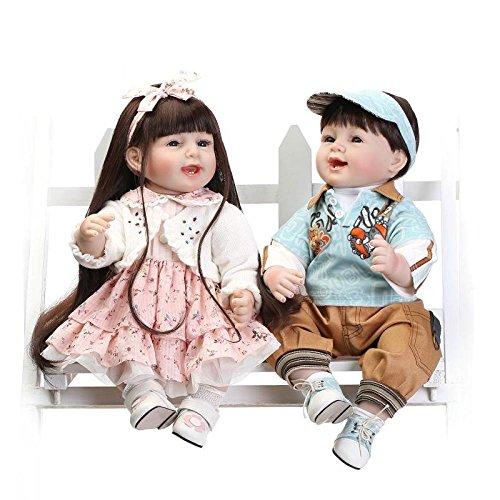 QXMEI Reborn Bambola Molle del Bambino di Simulazione del Silicone 22 Pollici 55 Centimetri Magnetica Bocca Bella Realistica Sveglia della Ragazza del Ragazzo Bambini Giocattolo,BluePink