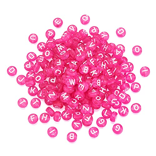 370pcs Transparent Acrylic Alphabet Letter Beads 7mm Flat Round Disc Coin A-Z White Letter Pattern Loose Spacer Beads Charms for DIY Necklace Bracelet Jewelry Making, Magenta