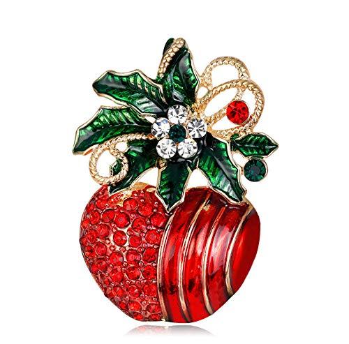 SHANGZHIQIN Elegante Broche de Navidad, Juego de Adornos navideños, Manzana de Navidad para Kit de Ramos de Boda DIY