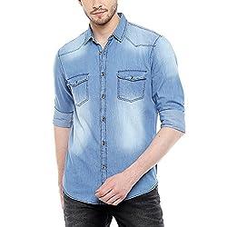 Dennis Lingo Mens Denim Medium Blue Solid Casual Shirt