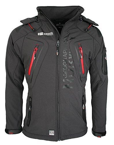 Geographical Norway Techno - Chaqueta flexible para hombre, con capucha desmontable gris S
