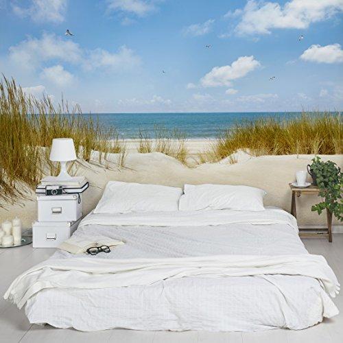 Apalis Fototapete Strand an der Nordsee Vliestapete Breit | Vlies Tapete Wandtapete Wandbild Foto 3D Fototapete für Schlafzimmer Wohnzimmer Küche | blau, 108969