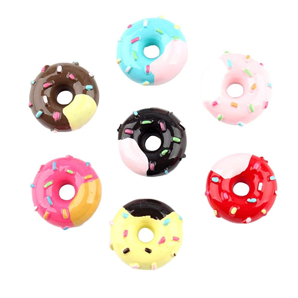 SUPVOX 20 Pcs Resin Flatback cabochons Cream Donut Slime Charms Beads Embellishment DIY Craft Scrapbooking Jewelry Making