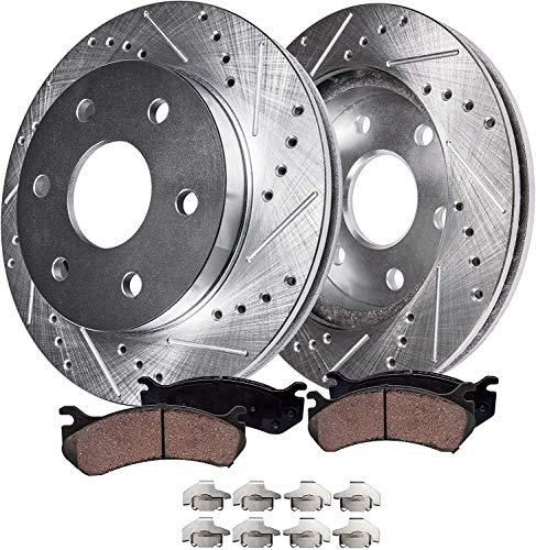 Detroit Axle - 6 LUG Drilled & Slotted Rear Brake Kit Rotor Set & Brake Kit Pads...