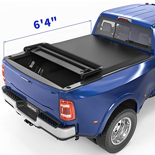 oEdRo Soft Quad Fold Tonneau Cover Four Fold Truck Bed Covers Compatible with 2002-2020 Dodge Ram 1500 ; 2003-2018 Dodge Ram 2500 3500, Fleetside, 6.4' Bed (for Models w/o Ram Box)
