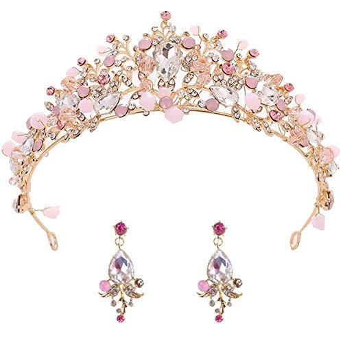 BETOY Tiara de Boda Novia Dama de Honor Corona Diadema Cristal Rhinestone Tiara Corona para niña Boda Tiara Novia Baile de graduación