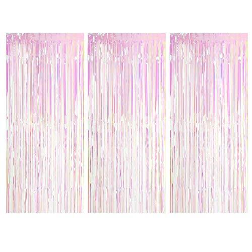 Gobesty Lametta Vorhänge, 3 Stück Metallic Tinsel Vorhänge Transparent Mehrfarbig Glitzer Vorhang Deko für Party Hochzeit Geburtstags Weihnachten Fotokabine Türvorhang Deko (3,28 * 6,56 ft/1 * 2 m)