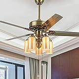 Qinmo Luces de ventilador de techo, de lujo eléctrico luz del ventilador, de madera de la hoja del ventilador de la lámpara, E27 Ventilador de techo de la sala de estudio dormitorio Comedor Ventilador